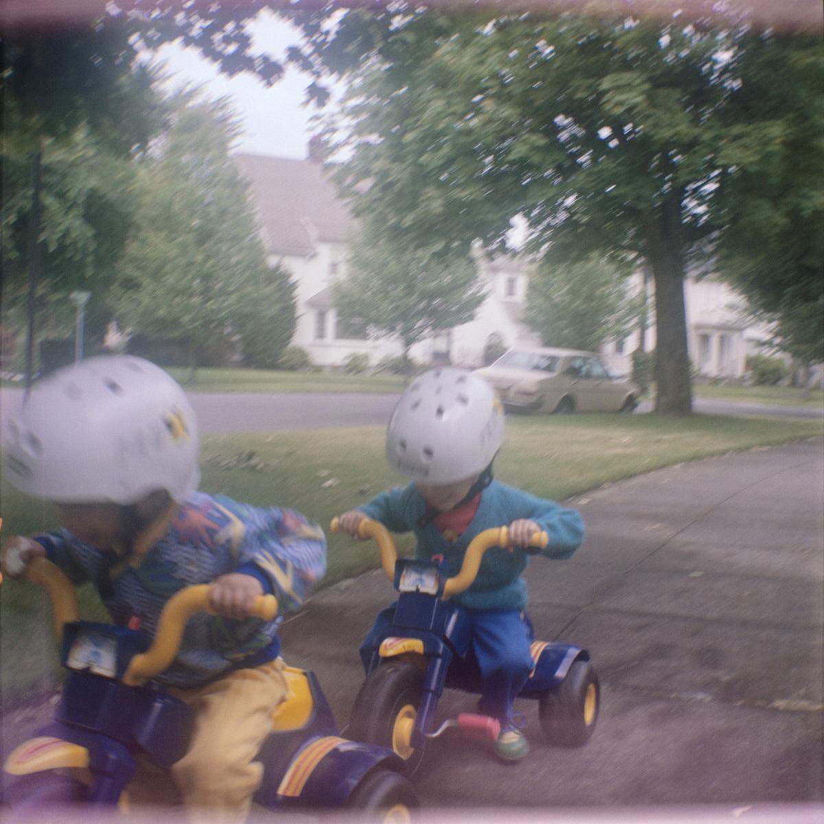 Ben and Daniel on Their Trikes
