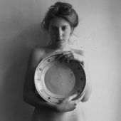 Woman with large plate