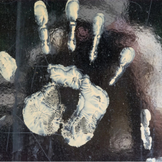 White Hand on Glossy, from the series The hand is us by Peter Baumgarter